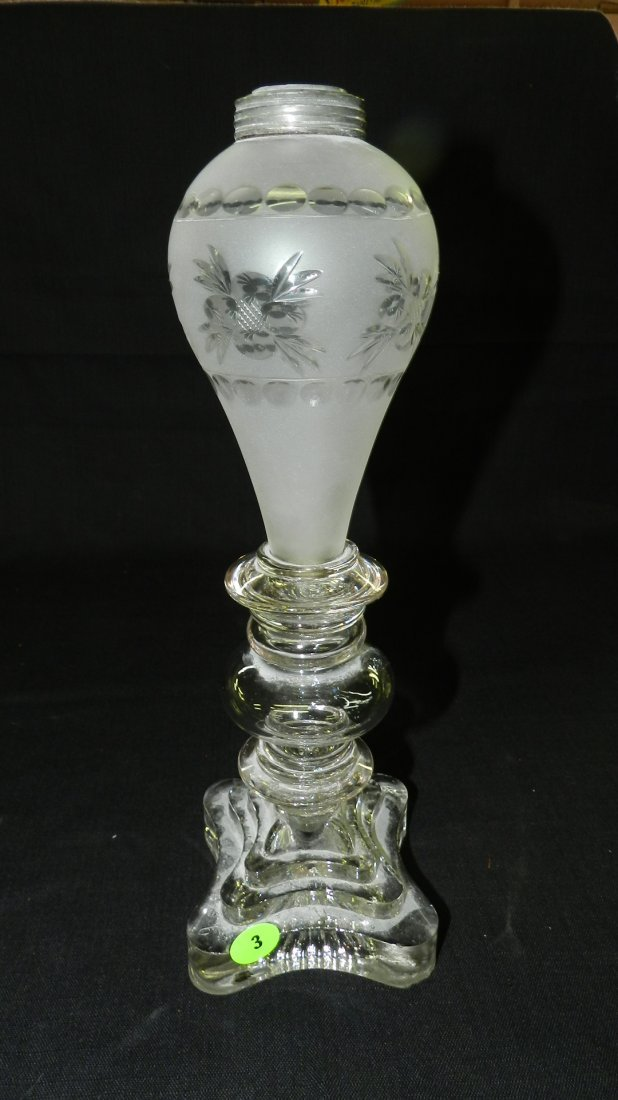 Lovely etched antique whale oil lamp base, cond VG