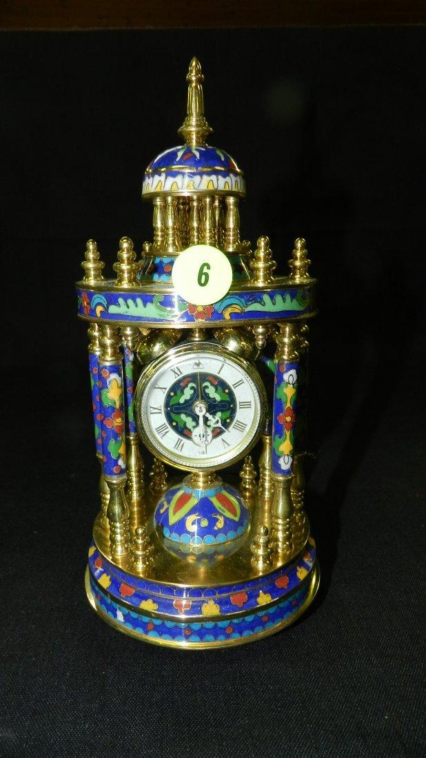 Unique Asian Cloisonne pillared clock, wind up, cond VG