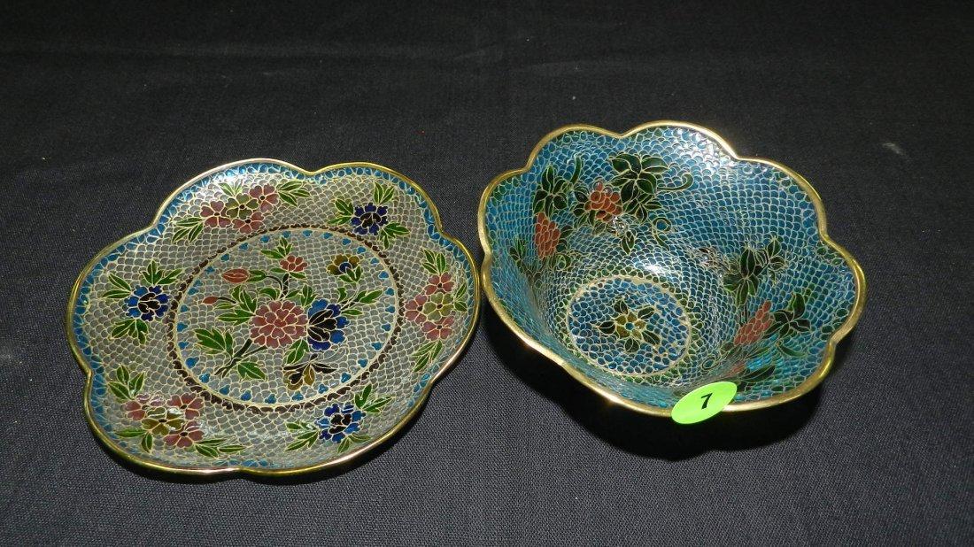 Unique 2 piece vintage Asian bowl and plate, Plique a