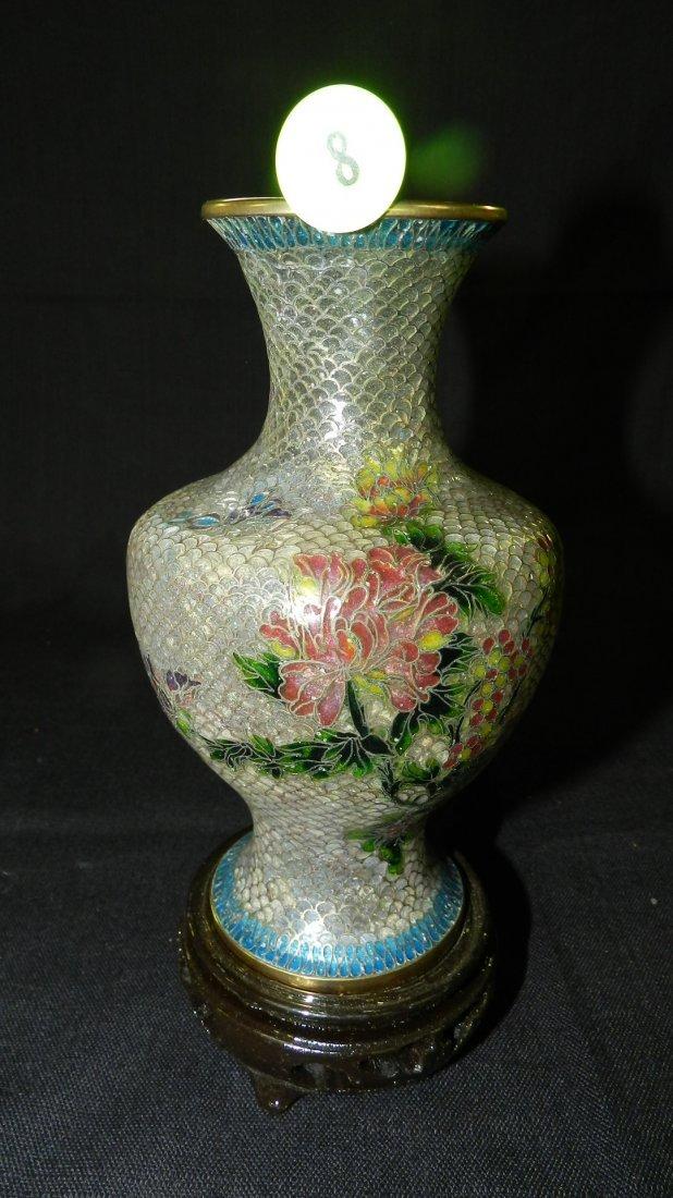 Unique, vintage Asian vase, Plique a jour style, cond