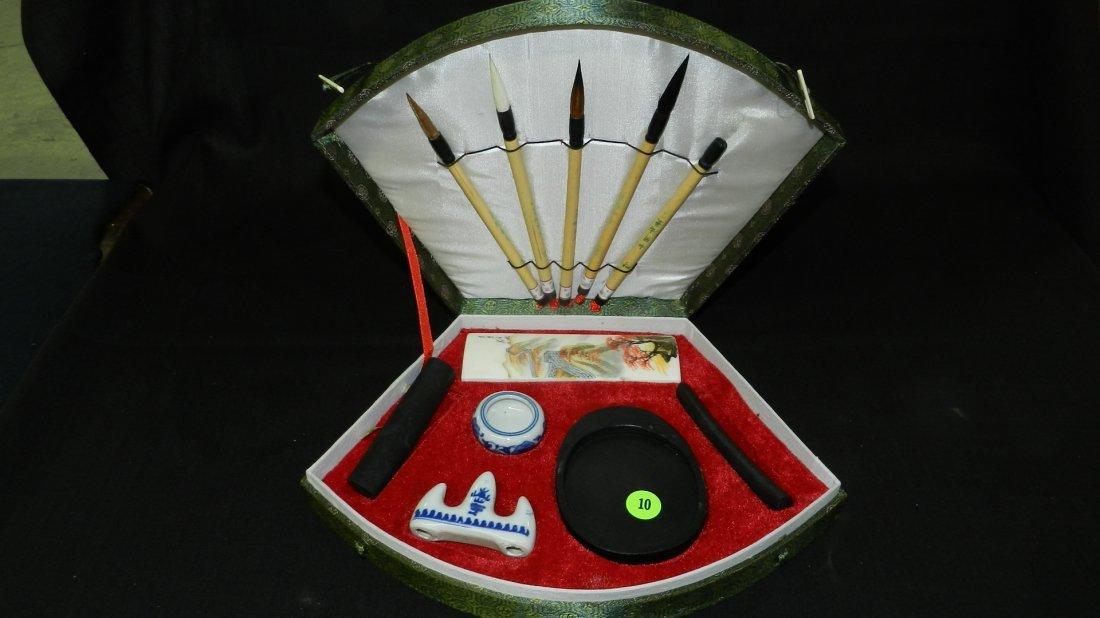 Nice Asian / Chinese Calligraphy brush set in holder