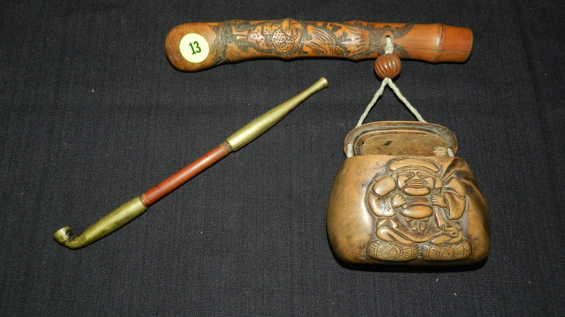 3 piece Chinese Opium pipe with carved holder and