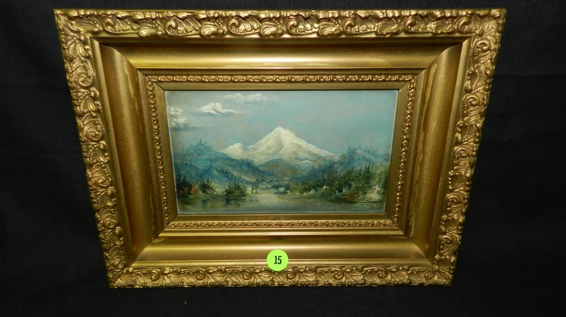 13) nice antique oil painting on board from Alaskan