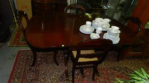 2 Attractive 5 Piece Mahogany dining set with 4 carved