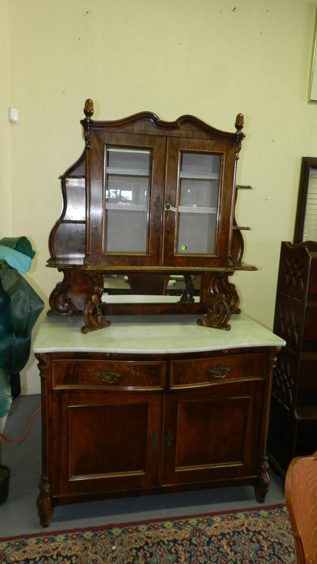 Outstanding, antique, marble top, French sideboard with