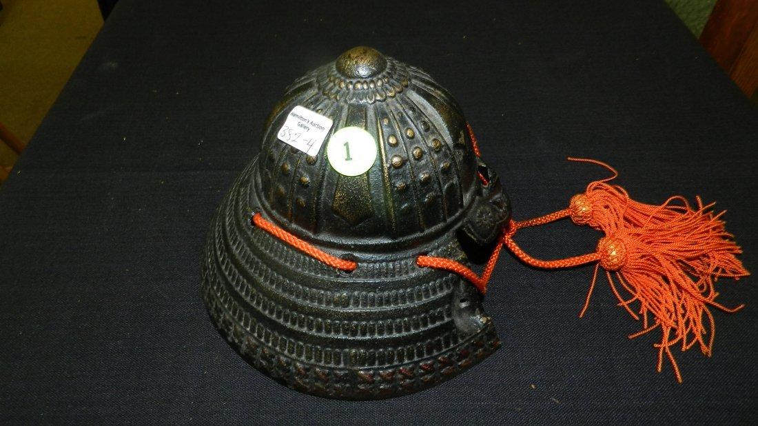 4) Unique Bronze? Japanese samurai warrior helmet