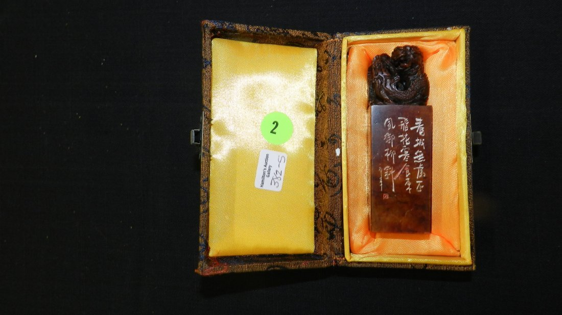 5) nice Chinese carved soapstone seal stamp with Fu