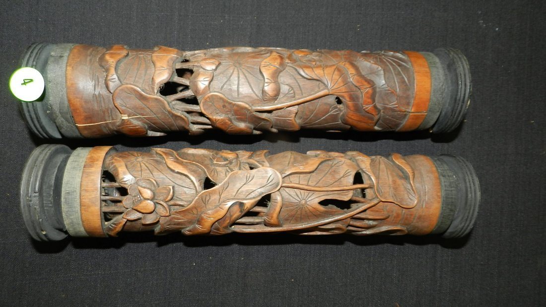 3) 2 piece carved Asian (Japanese scroll tubes) floral