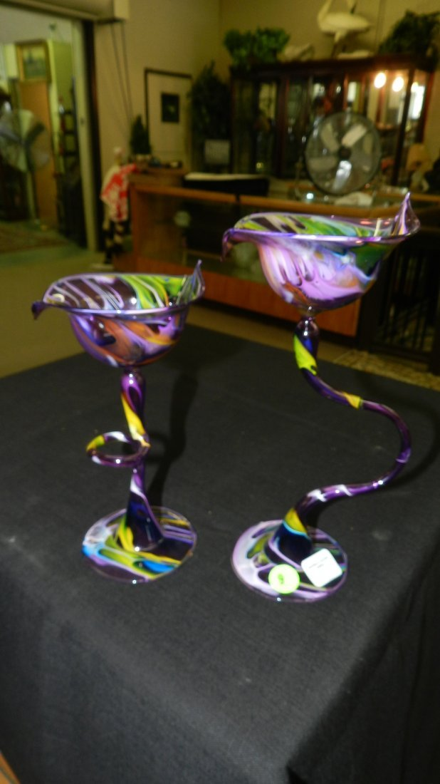 10) 2 piece delicate (Egg Shell) art glass votive