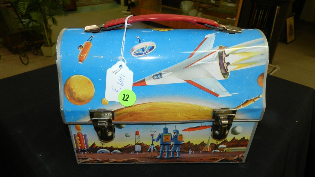 3) vintage 1960's OUTER SPACE ROCKET Dome Top LUNCH BOX