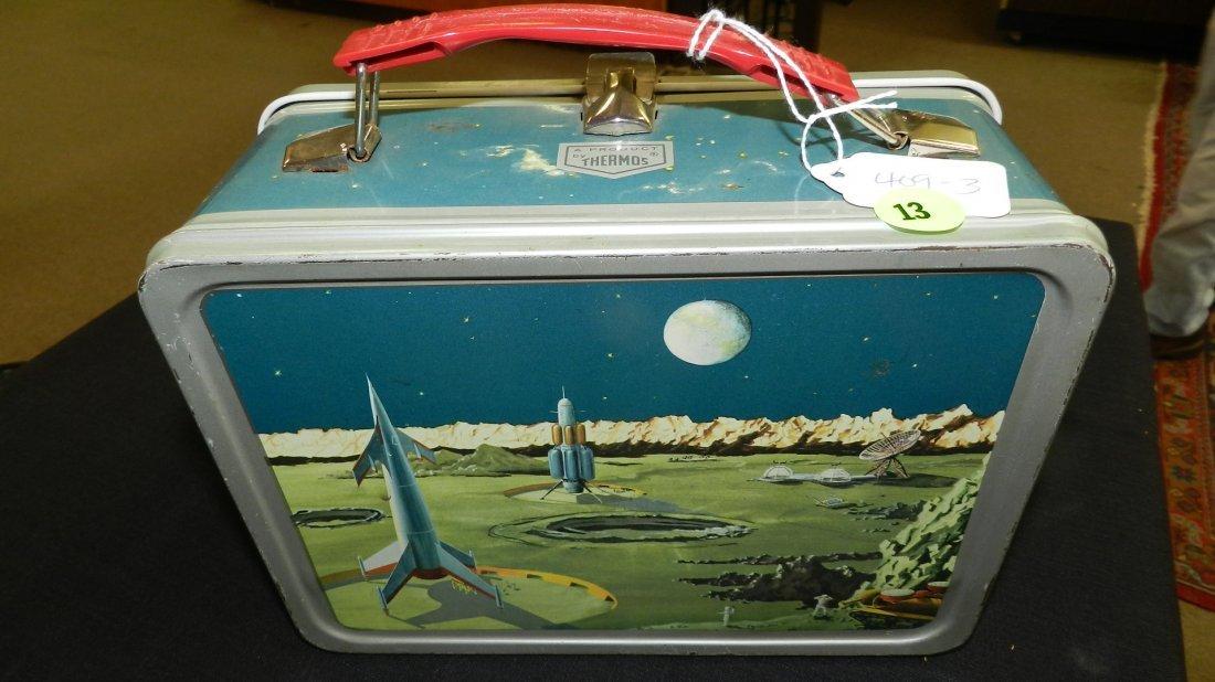 3) Nice Vintage 1950's Space Metal Lunchbox / The