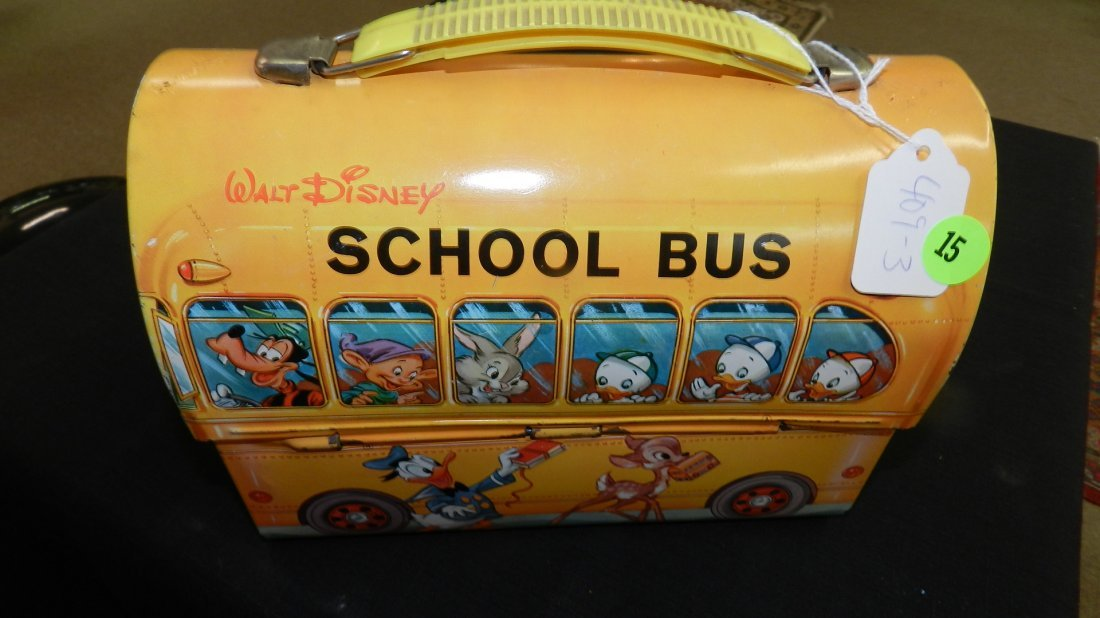 Vintage Aladdin Disney School Bus Lunchbox and Thermos,