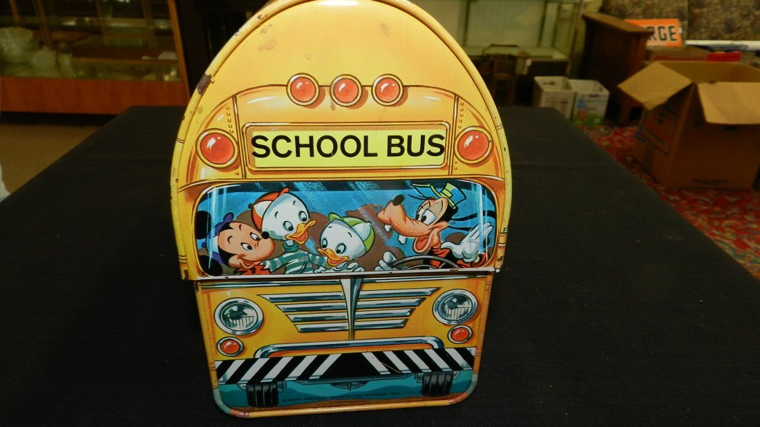 Vintage Aladdin Disney School Bus Lunchbox and Thermos, - 2