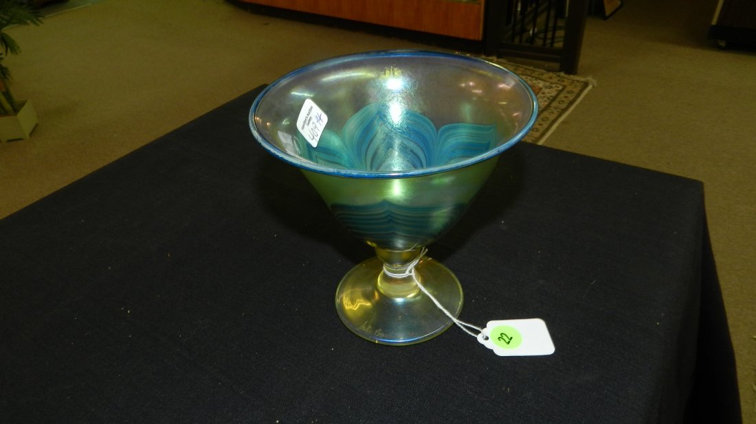 14) signed Art glass compote / glass with pulled