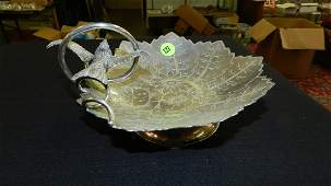 Lovely Victorian silver plated display tray with bird