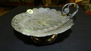 Lovely Victorian silver plated footed tray with etched