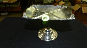 Lovely antique etched Victorian silver plated footed
