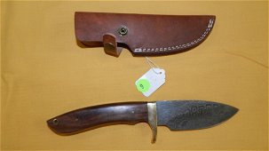 Custom made Damascus steel skinner knife, walnut wood
