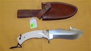 Custom made Tool steel gut hook skinner knife, has deer