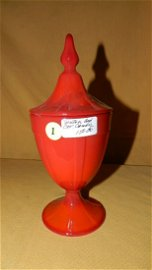 Rare red Fenton candy compote, COND VG