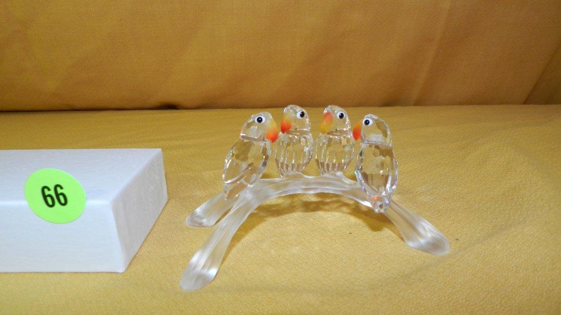 "Nice Swarovski crystal ""Baby parrots on log"" figurine"