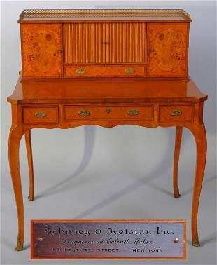 1241: Schmieg & Kotzian Marquetry Inlaid Tambour Desk