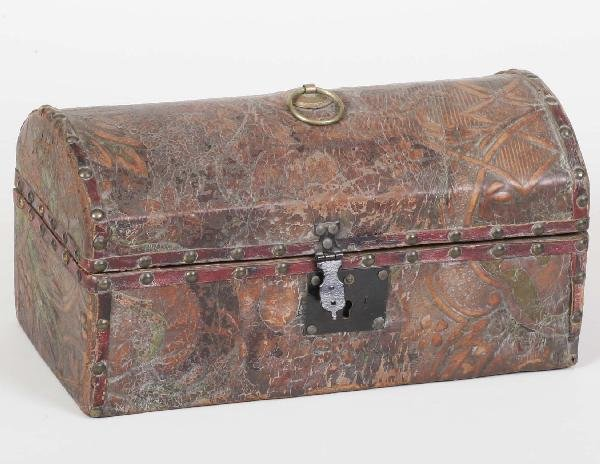 5: 18th C Tooled Leather Dome Top Box