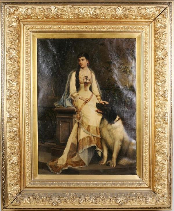 7: Oil Painting Woman & Dog Circa 1880