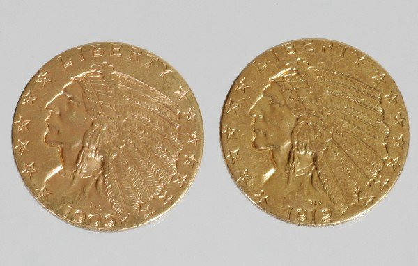 10: 2 - $5 Indian Head Coins 1909 & 1912