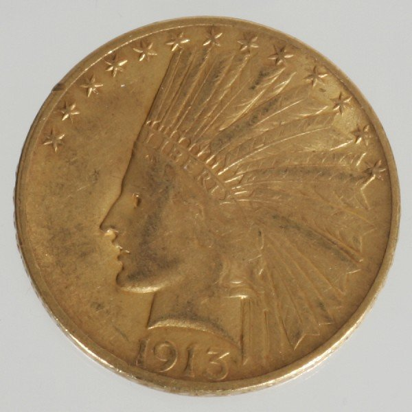 13: 1913 $10 Indian Head Coin