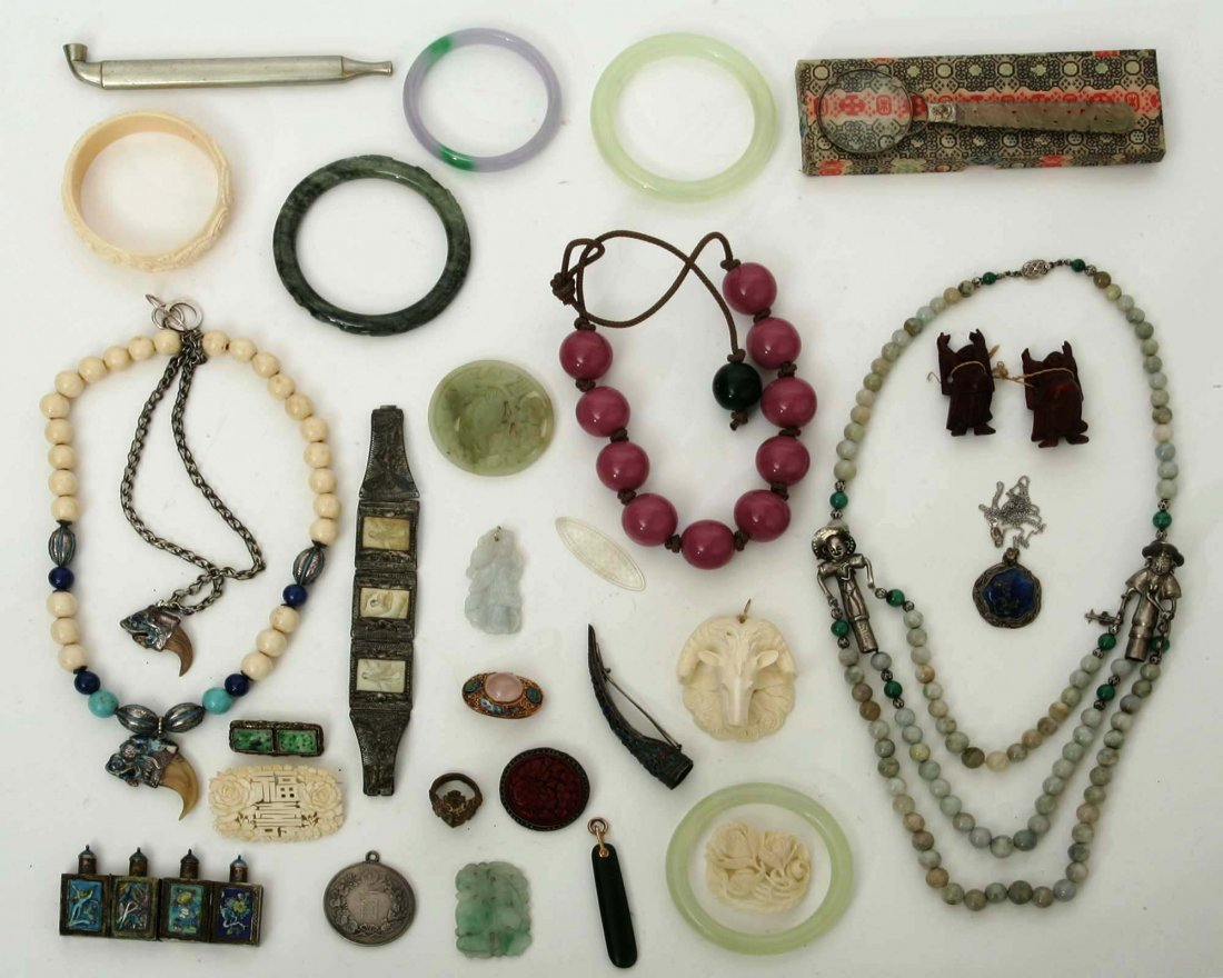 Chinese Jade, Ivory & Silver Jewelry