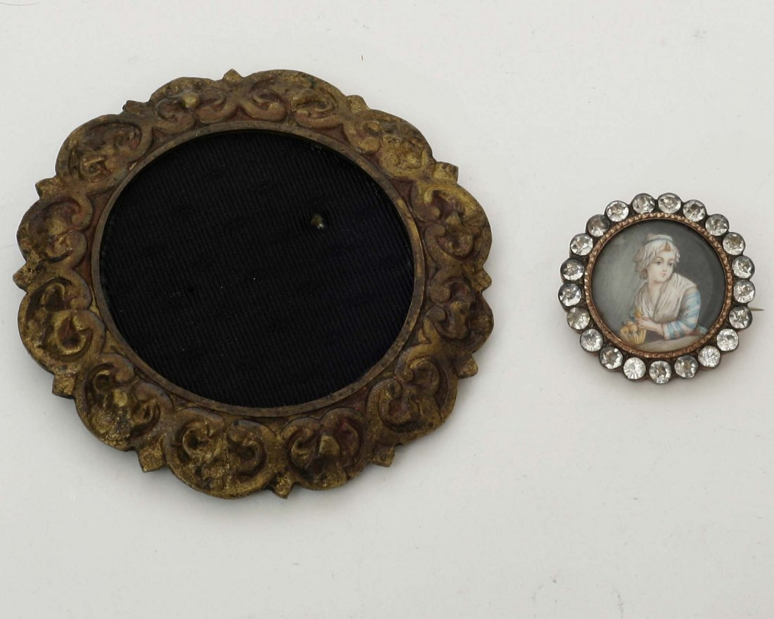 French Miniature Portrait & Stand