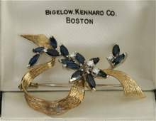 Gold, Saphire & Diamond Brooch