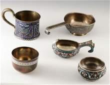 Russian Silver Objects-Kvosh-Cups