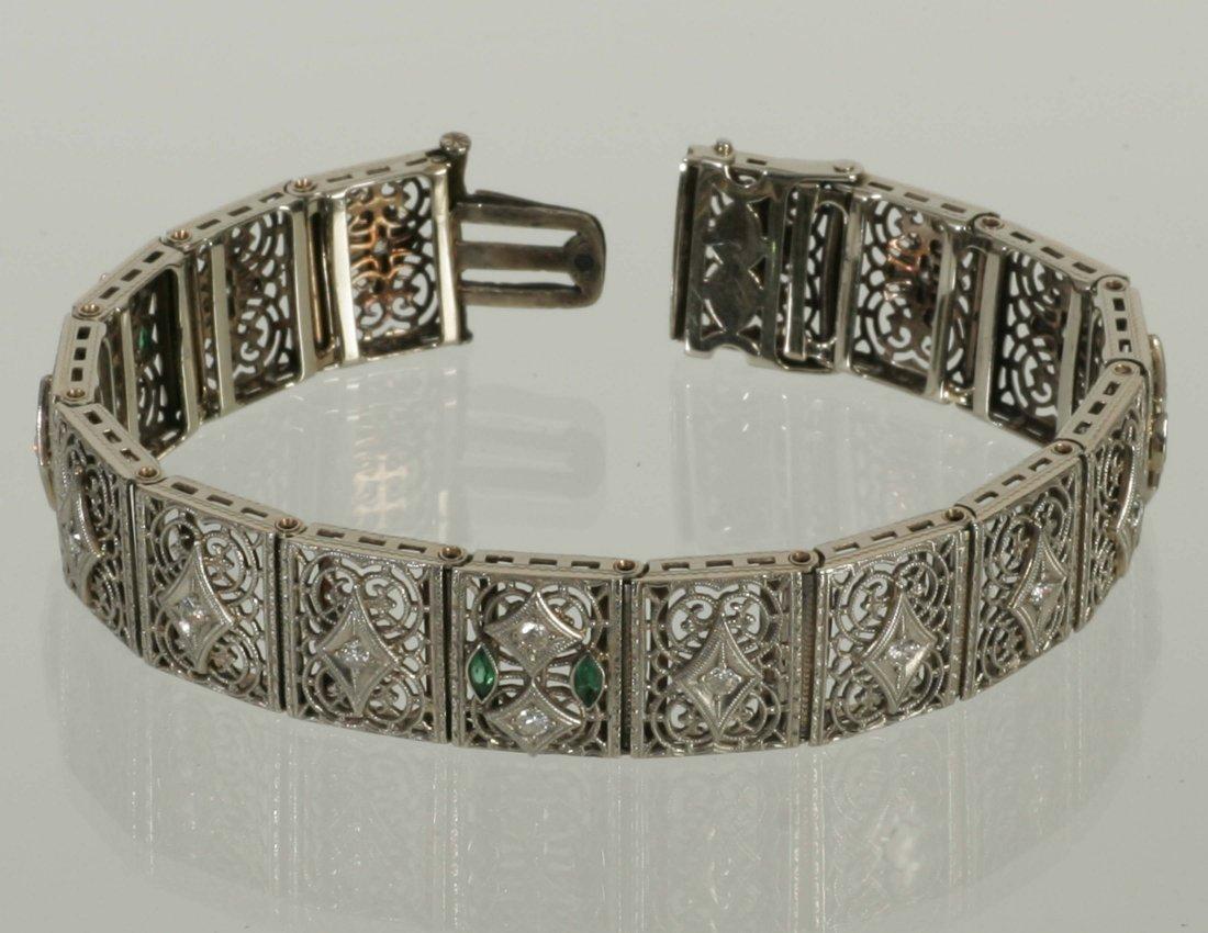 Art Deco Gold Diamond & Emerald Bracelet