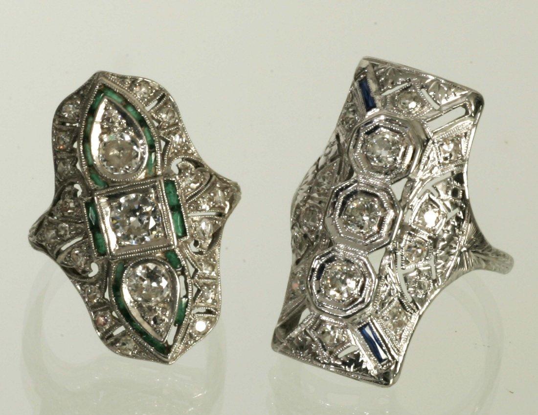 2 Art Deco Mine Cut Diamond Rings