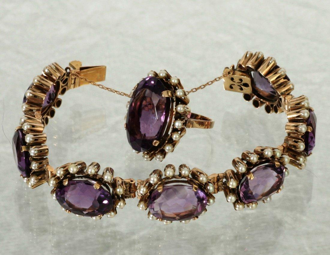 Amethyst & Pearl Cocktail Ring & Bracelet