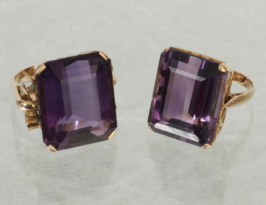 2 Gold & Amethyst Ladies Rings