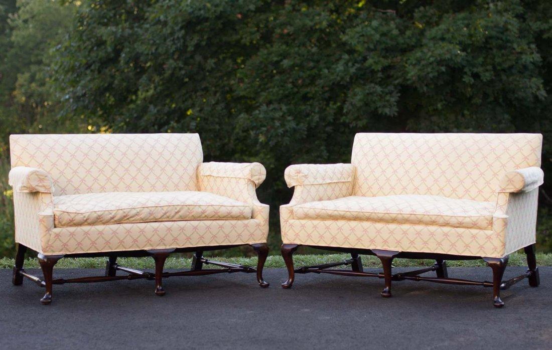 Pair Upholstered Settees