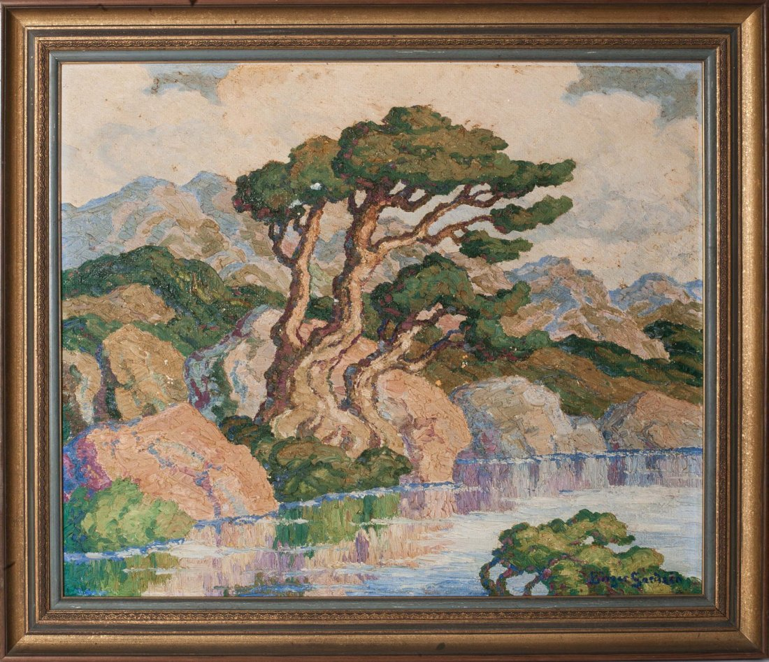 BIRGER SANDZEN Mountain Lake Oil on board
