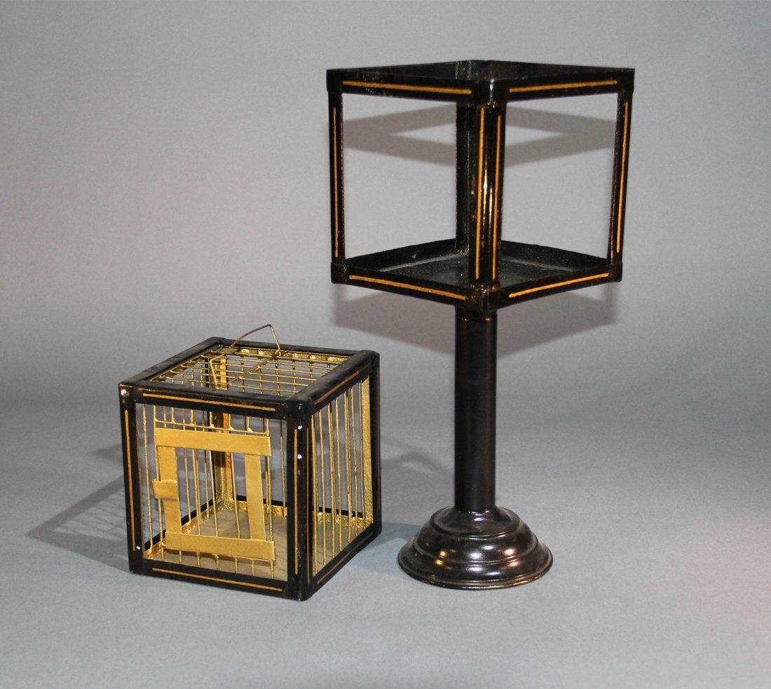 CANARY CAGE AND PEDESTAL