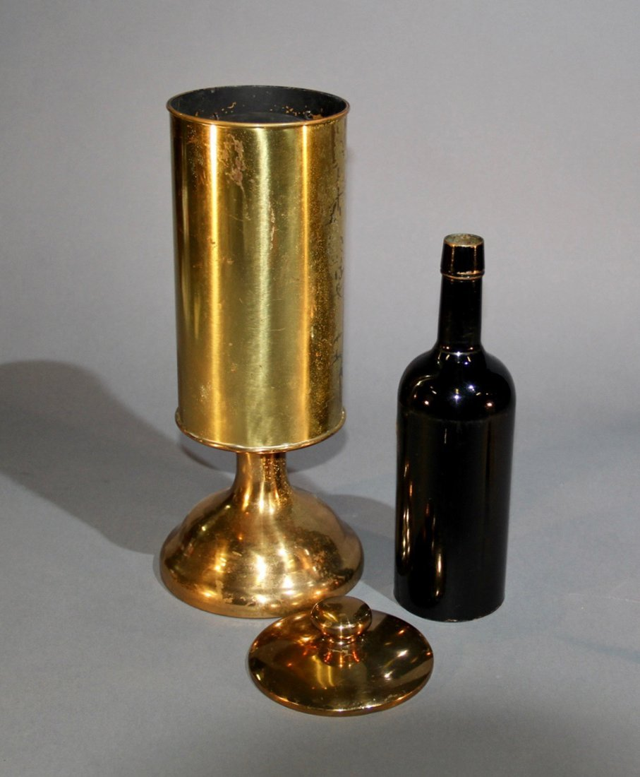 LARGE BRASS FLAG VASE