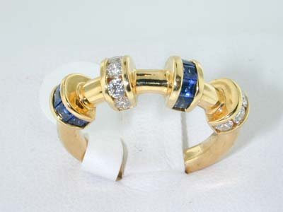 2: 2: Krypel 18K Yellow Gold Diamond and Sapphire Ring