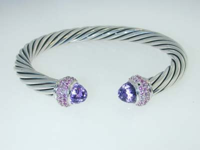 6: David Yurman Amethyst & Pink Sapphire Silver Bangle