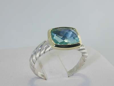 7: David Yurman Aquamarine Silver and 18k Yellow Gold R