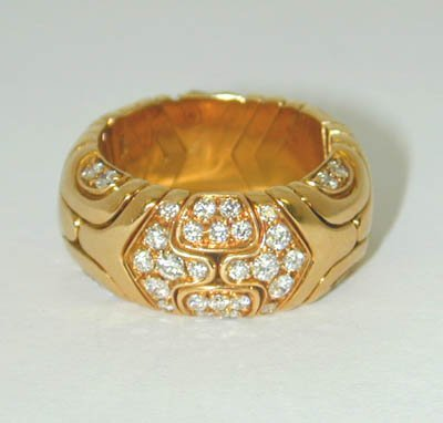 18: 18: BVLGARI 18K Yellow Gold Diamond Ring