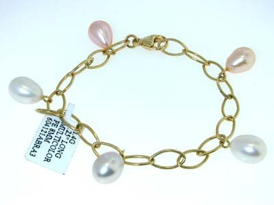 24: David Yurman 14K Yellow Gold Multicolor Pearl Brace
