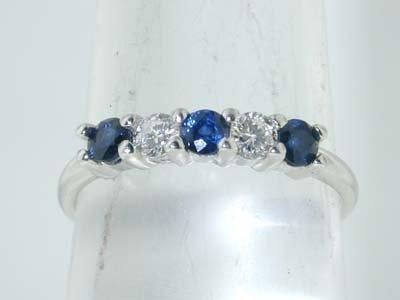 1: 1: 1: Tiffany & Co. Platinum Diamond and Sapphire Ri