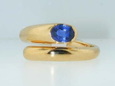 3: 3: 3: Bvlgari 18K Yellow Gold Sapphire Ring