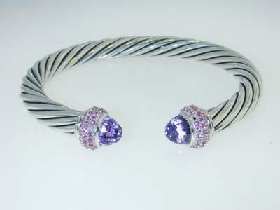 6: 6: David Yurman Amethyst & Pink Sapphire Silver Bang